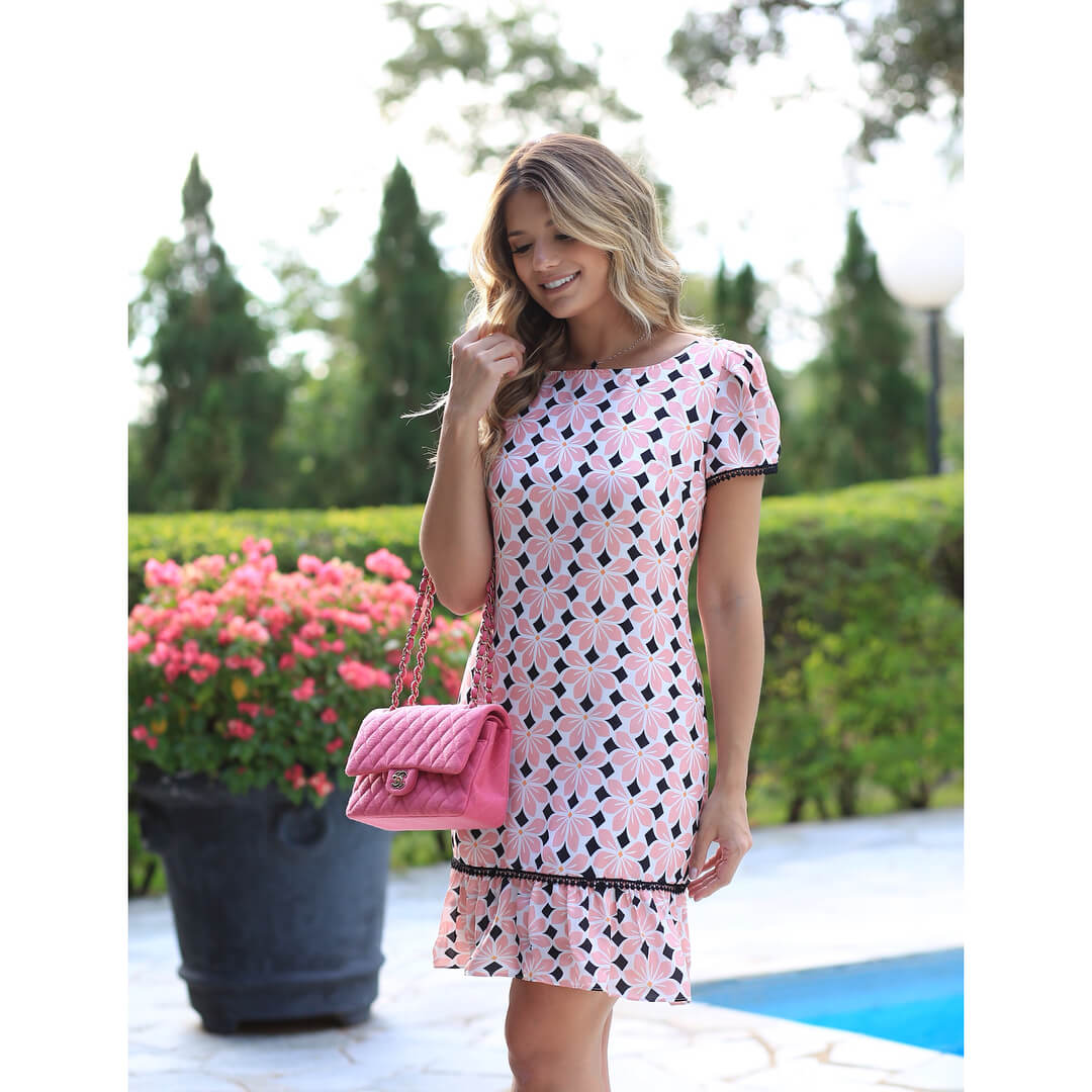Vestido Crepe Floral Miss Mary