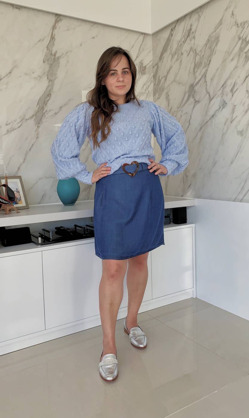 Vestido Jeans Decote Quadrado Villon