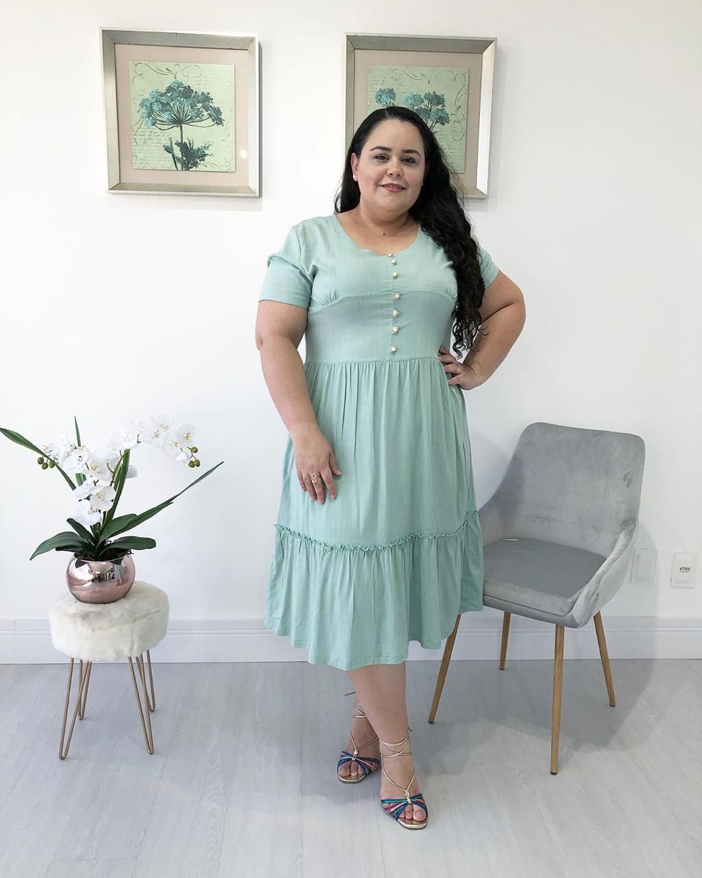 Vestido Midi Babado Plus