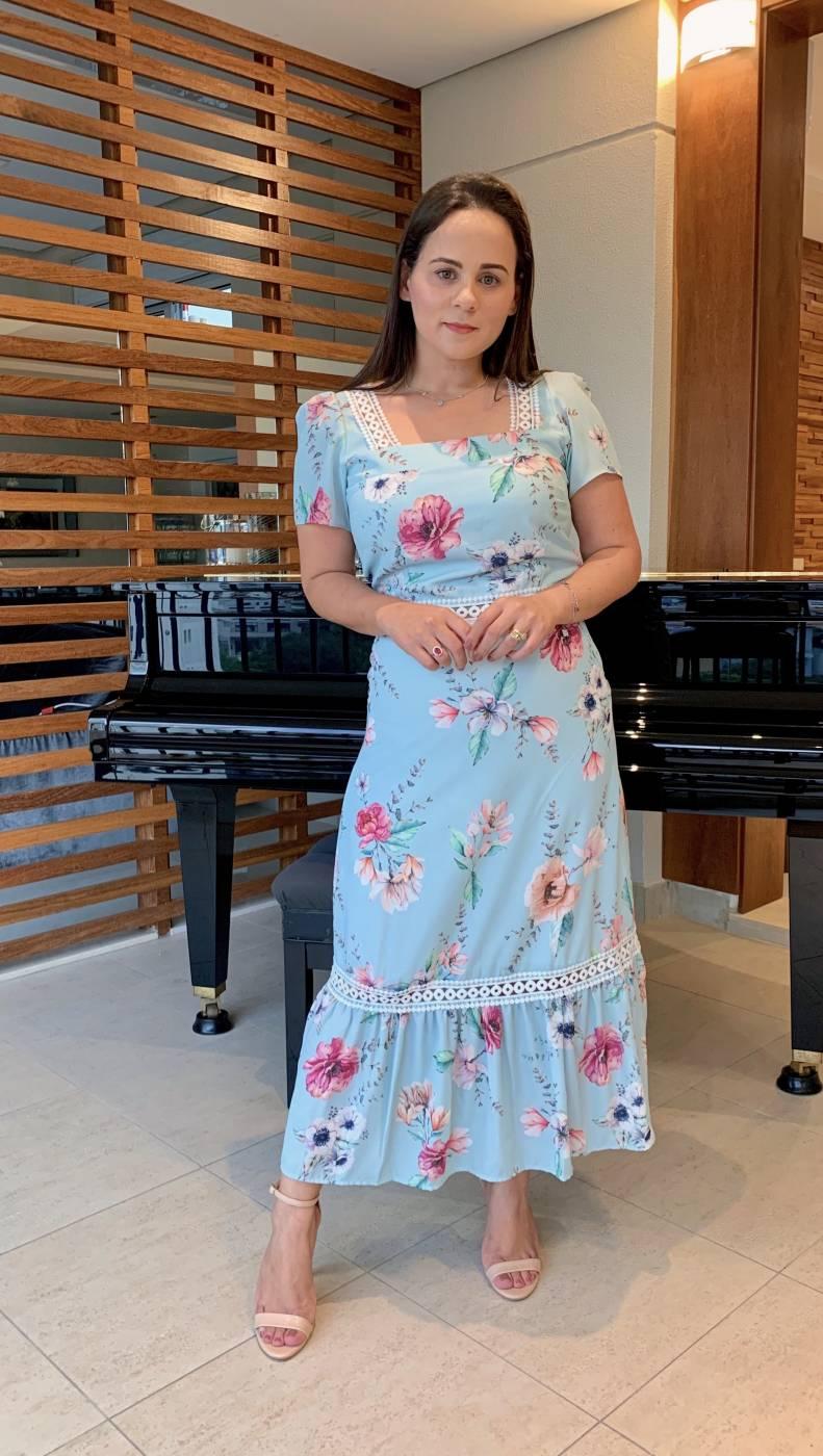 Vestido Midi Crepe Floral Azul Milalai