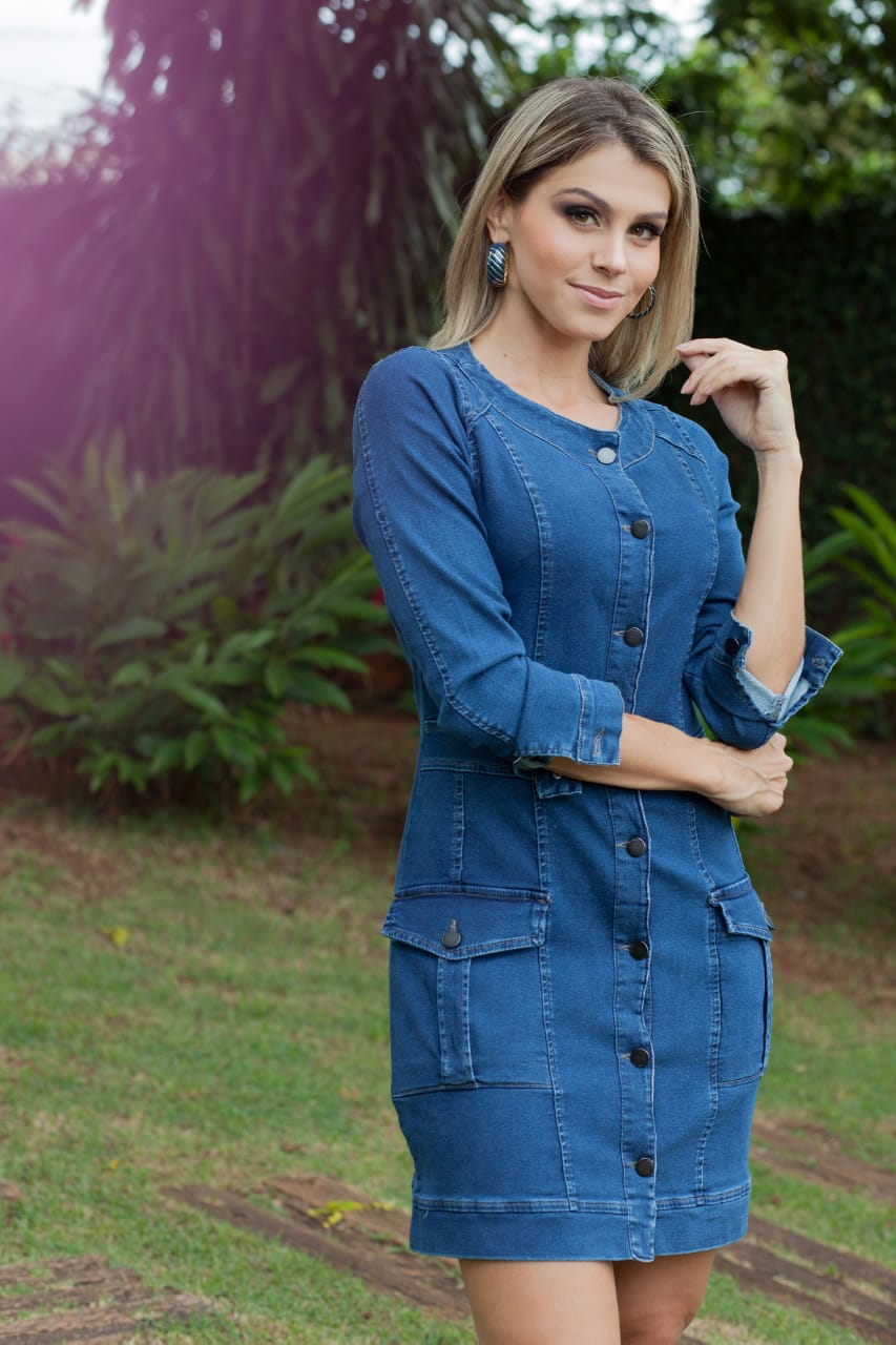 Vestido Moletinho Jeans ML Villon