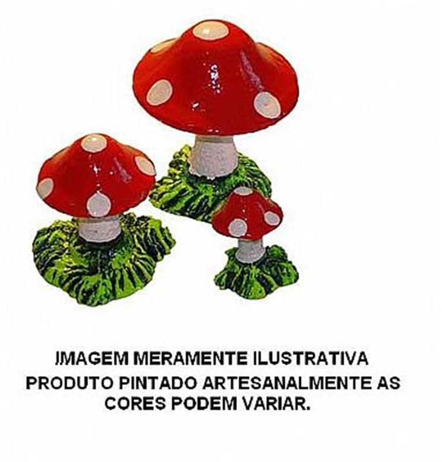 Aquária Enfeite de Resina Cogumelo 3 Peças (A-18)