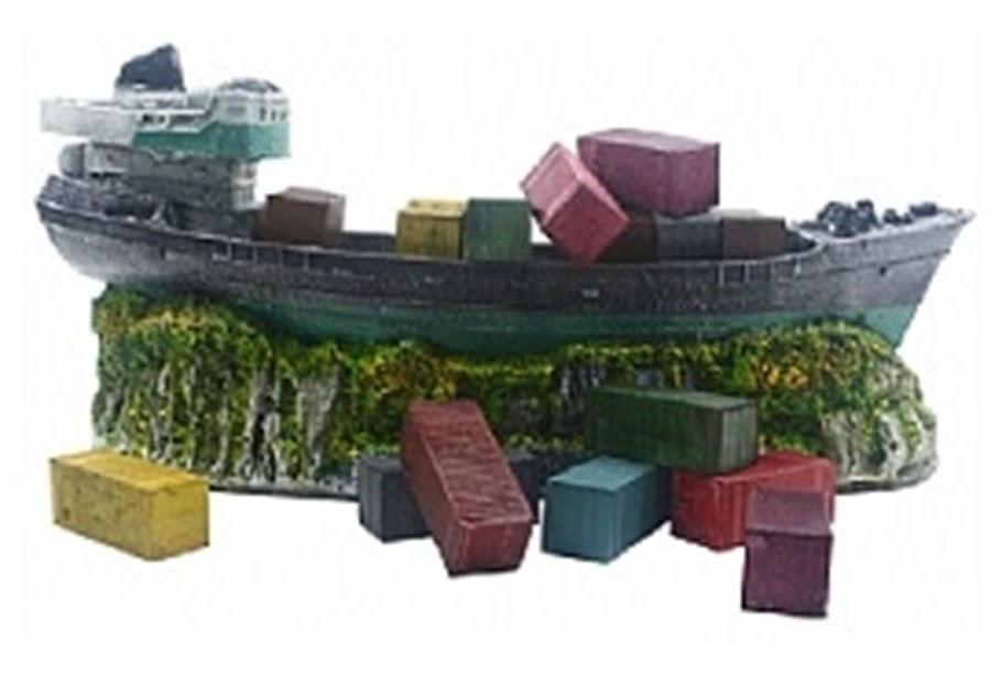 Aquária Enfeite de Resina Navio Container (B-43)
