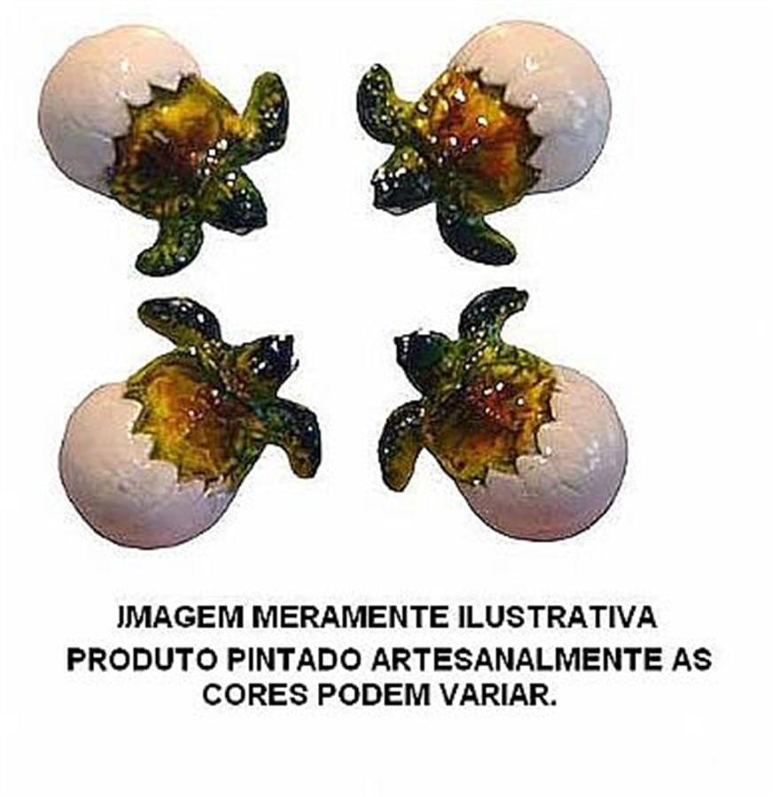 Aquária Enfeite de Resina Tartaruga Ovo 4 Peças (A-12)