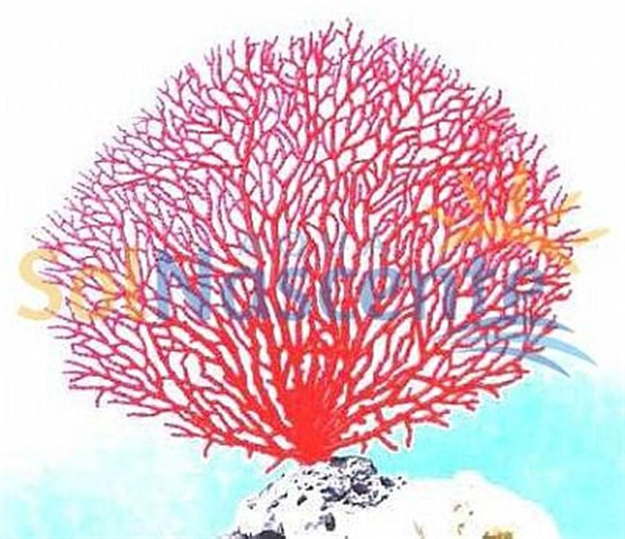 Artificial Coral Reef Gorgonia Seafan Vermelha(Enfeite de Silicone e Resina)