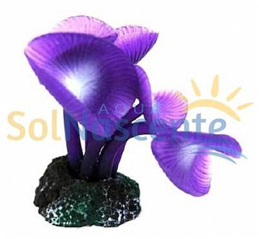 Artificial Coral Reef Mushroom Long Stem Roxo(Enfeite de Silicone e Resina)
