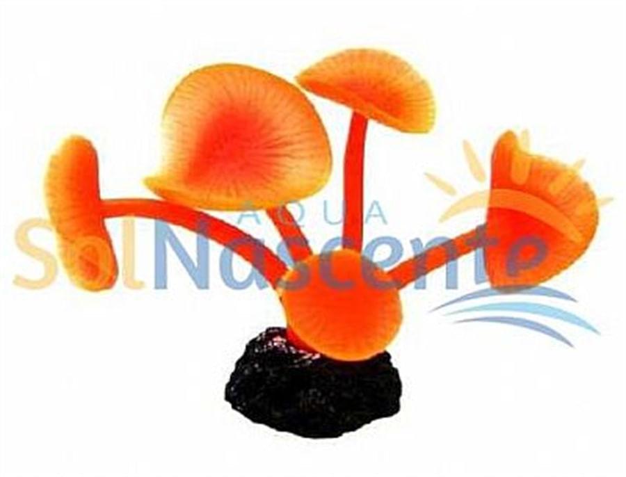 Artificial Coral Reef Mushroom Long Stem Vermelho(Enfeite de Silicone e Resina)