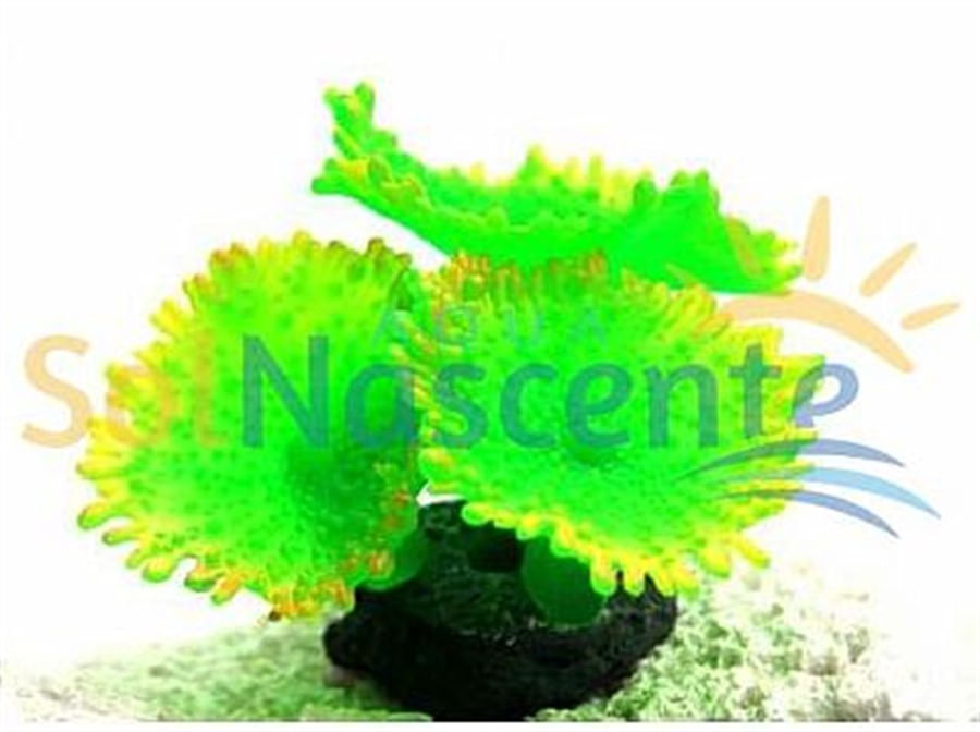 Artificial Coral Reef Mushroom Spotted Verde(Enfeite de Silicone e Resina)