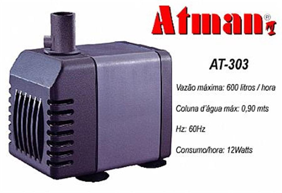 ATMAN AT-303 Bomba Submersa - 600l/h - Coluna d'água 0,90