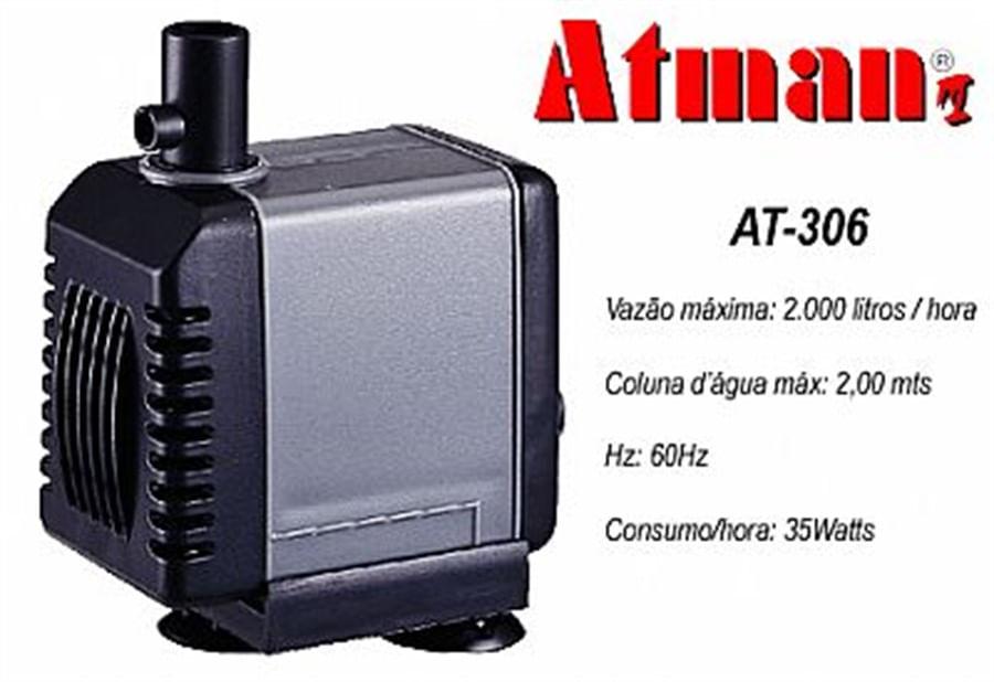 ATMAN AT-306 Bomba Submersa - 2000L/H - Coluna d´água de 2,00 - 220V