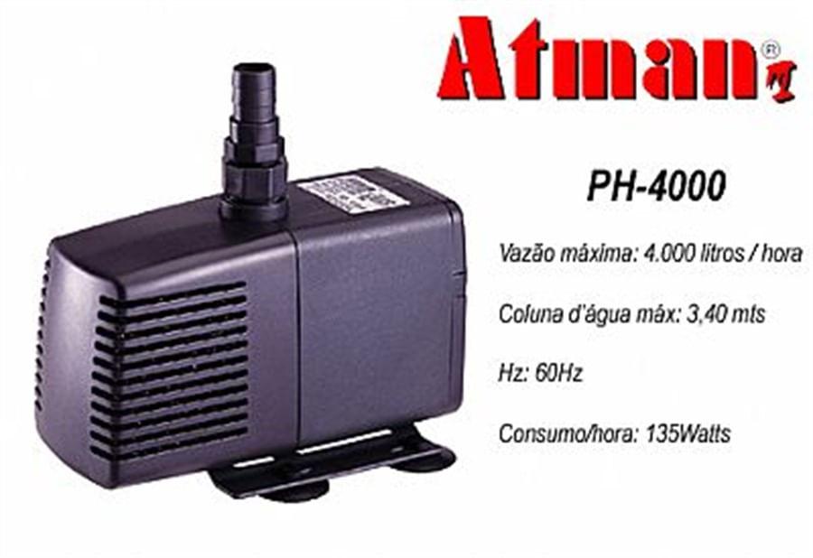 ATMAN PH-4000 - 4000L/H - Coluna d´água de 3,40 - 220V
