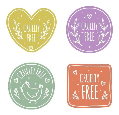 1000 Etiquetas Adesivas Produtos Veganos Cruelty Free 5x5cm