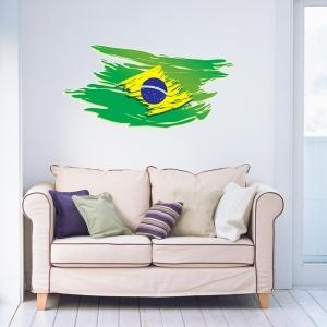 Adesivo de Parede Bandeira do Brasil Estilosa