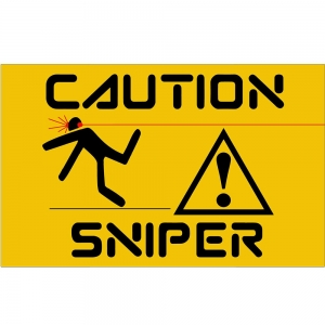 Adesivo de Parede Caution Sniper