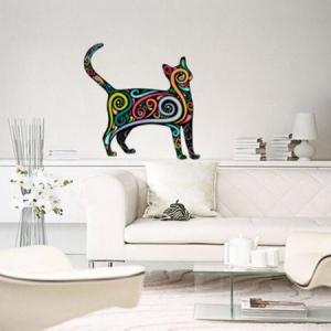 Adesivo de Parede Gato Colorido