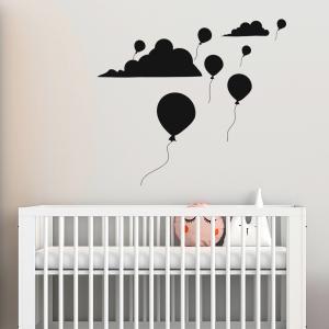 Adesivo de Parede Infantil Balões nas Nuvens