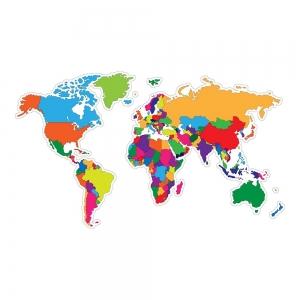 Adesivo de Parede Mapa do Mundo Colorido