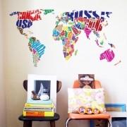 Adesivo de Parede Mapa do Mundo em Frases
