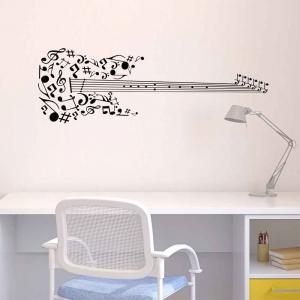 Adesivo de Parede Notas na Guitarra
