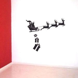 Adesivo de Parede Natal Papai Noel Renas