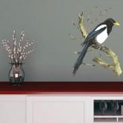 Adesivo de Parede Pássaro Azul e Preto Aquarela