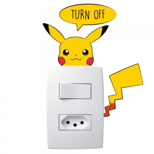 Adesivo de Parede Pikachu Off Interruptor