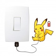 Adesivo de Parede Pikachu Recarregando Interruptor