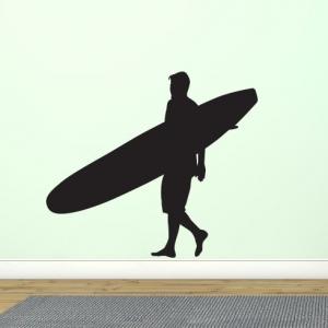 Adesivo de Parede Surfista Longboard
