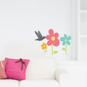 Adesivo Floral Beija Flor