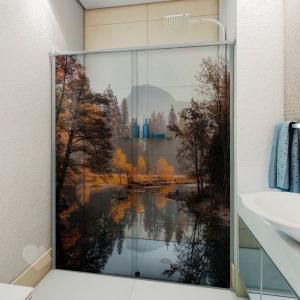 Adesivo Para Box De Banheiro 3d Bosque Largura Total Até 120cm