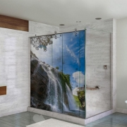 Adesivo Para Box De Banheiro 3d Cachoeira Largura Total Até 120cm