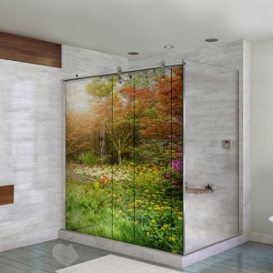 Adesivo Para Box De Banheiro 3d Campo Florida Largura Total Até 120cm