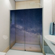 Adesivo Para Box De Banheiro 3d Céu Estrelado Largura Total Até 120cm