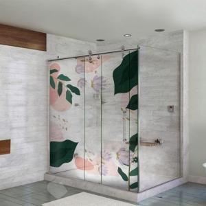 Adesivo Para Box De Banheiro 3d Floral Largura Total Até 120cm
