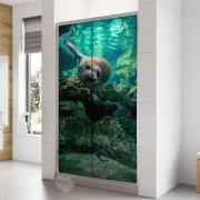 Adesivo Para Box De Banheiro 3d Foca Nadando Largura Total Até 120cm