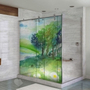Adesivo Para Box De Banheiro 3d Paisagem Aquarela Largura Total Até 120cm