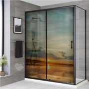 Adesivo Para Box De Banheiro 3d Por do Sol Largura Total Até 120cm