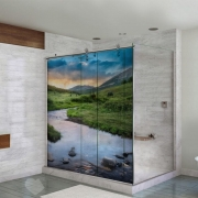 Adesivo Para Box De Banheiro 3d Riacho na Montanha Largura Total Até 120cm