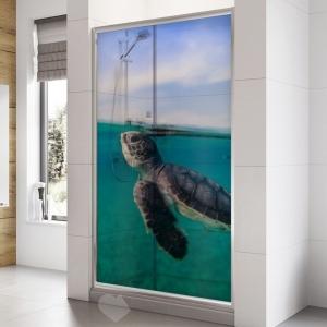 Adesivo Para Box De Banheiro 3d Tartaruga Marinha Largura Total Até 120cm
