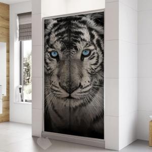 Adesivo Para Box De Banheiro 3d Tigre Branco Largura Total Até 120cm