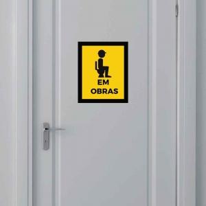 Adesivo para Porta Banheiro Em Obra