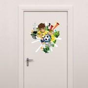 Adesivo para Porta Jogador Futebol da Copa do Mundo