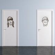 Adesivo para Porta Menino e Menina Cartoon
