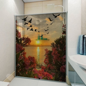 Adesivo Para Box De Banheiro 3d Por Do Sol Com Flores Largura Total Até 120cm