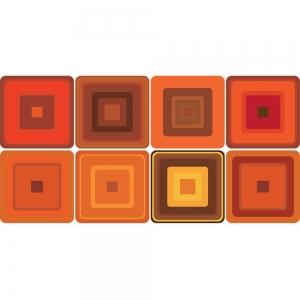 KIT Adesivos de Azulejos Illusion Orange