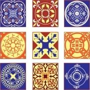KIT Adesivos de Azulejos Vermelho e Amarelo Medieval