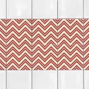 KIT Adesivos de Azulejos Zig Zag Vermelho