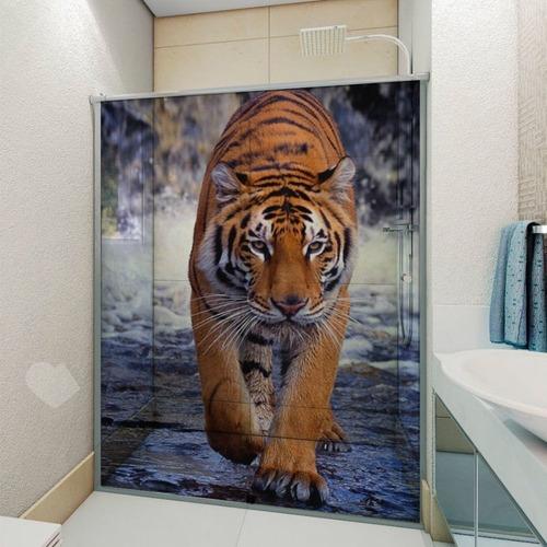 Adesivo Box De Banheiro 3d Tigre Andando Até 180x190cm