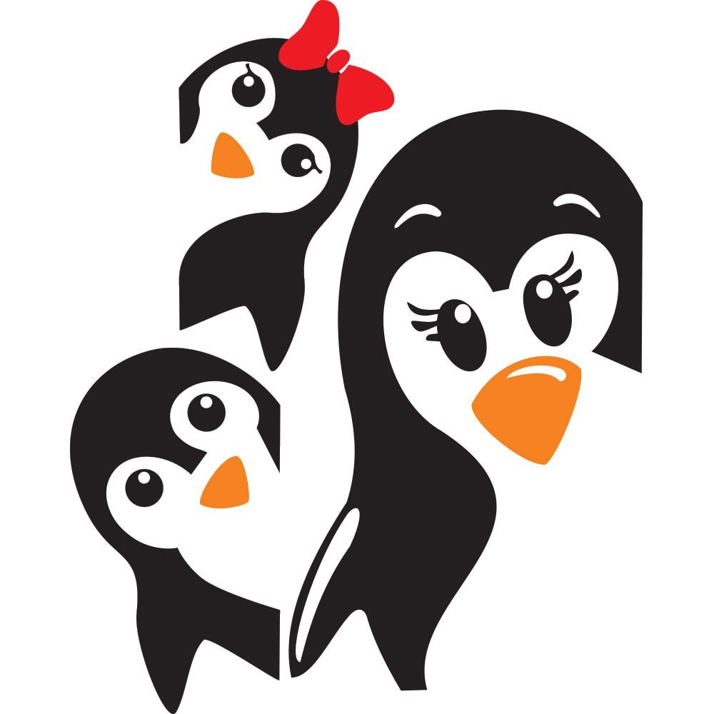 Adesivo de Geladeira Família Pinguim
