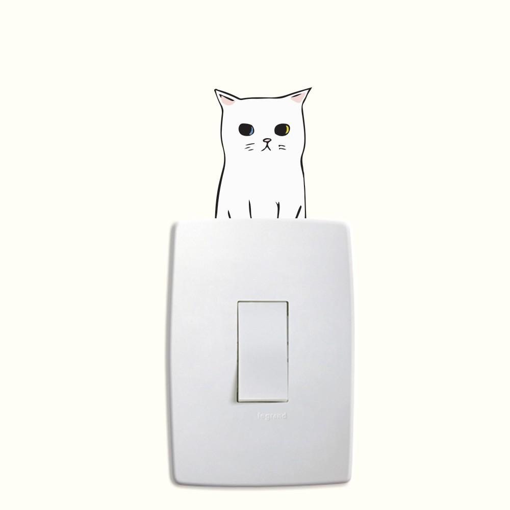 Adesivo de Parede Animal Series Gatinho Branco Interruptor